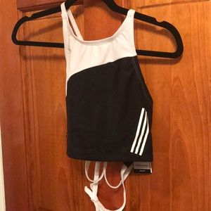 Adidas color block high neck swimsuit top